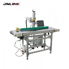 Effective working co2 fly laser fiber marking machine with conveyor belt